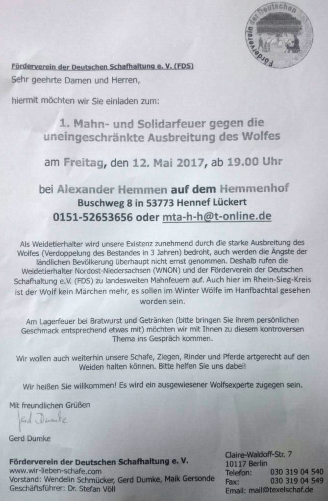 Mahnfeuer gegen den Wolf | LueckertNews.de