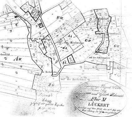 """Karte """"Flurstück 11 Lückert"""" von 1826 - Lückerter Umgebung"""