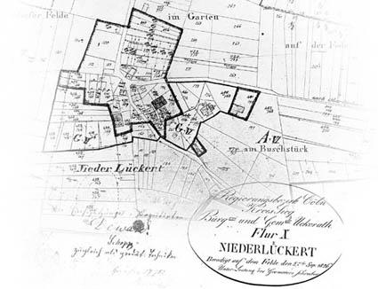 """Karte """"Flur 10 Niederlückert"""" von 1826 - Das heutige """"Oberdorf"""""""